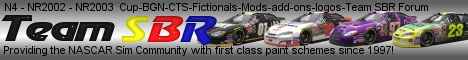 N4-NR2002-NR2003 Updated paint schemes, fictionals, add-ons, logos, and the Team SBR Forum. SBR has been providing the Nascar Sim Community with first class paint schemes since 1997.